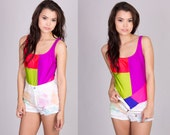 Vintage Neon Colorblock Swimsuit One Piece Size Small (US Size 4)