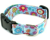 Fabric Dog Collar - Blue Meadows - Choose Your Size