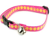 Cat Collar - Pink and Yellow Diamonds