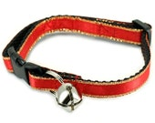 Cat Collar - Red with Gold Accents