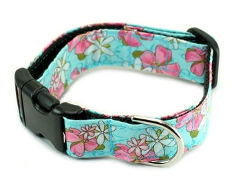 Dog Collar or Martingale - Lotus Flowers on Blue