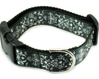 "1"" Dog Collar or Martingale - Black Damask"