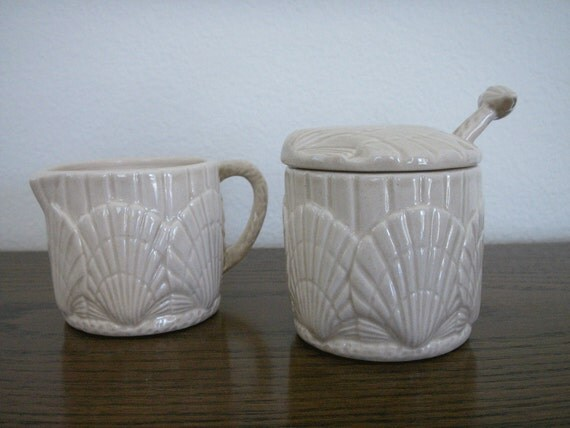 Ceramic Shell Creamer and Sugar Bowl with Spoon