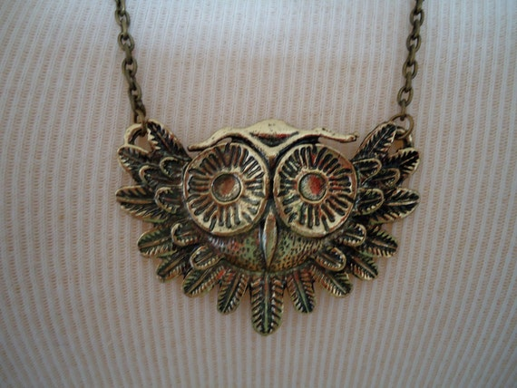 Vintage Brass Owl Necklace