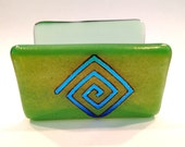 Fused Glass Business Card Holder Green wit Blue Dichroic Glass design 130