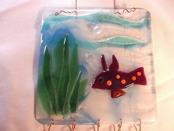 Fused Glass Underwater Fish Scene Dichroic and Iridized Art Glass Wind Chime LI02