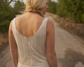SALE-Beaded, 1930s, Ivory, Vintage Wedding Gown - Cate