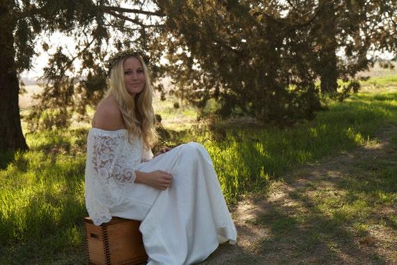 RESERVED FOR DJO - Boho Wedding Dress, White, Off the Shoulder, Satin - Saffron