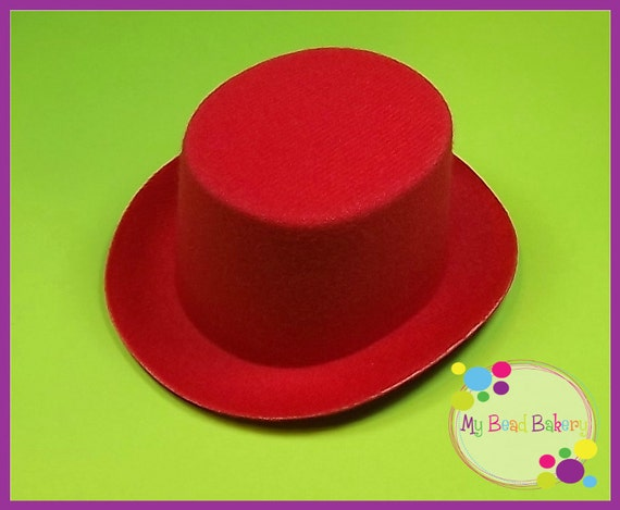 "5"" Red Felt Mini Top Hat  Molded Plastic Core Premium Quality DIY Crafts Christmas Valentine's July 4th"