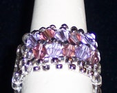 Size 9 Ring Beaded Band 12mm wide with Swarovski Crystals FREE SHIP in USA