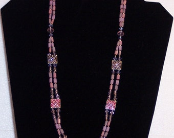 """Lavender and Pink Swarovski Crystals Beaded Necklace 30"""" long Free ship USA N0211"""