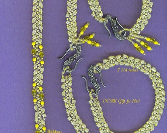 Sale Hand beaded Yellow Seed Beads 17in Necklace and 2 Bracelet Set 1204 FREE Ship USA