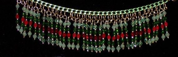 "Christmas Sale! Hand made 225 Swarovski Crystal & Gold Seed Beads,  21"" long Necklace or Three 7"" Bracelets N1111-2 Free Ship USA"