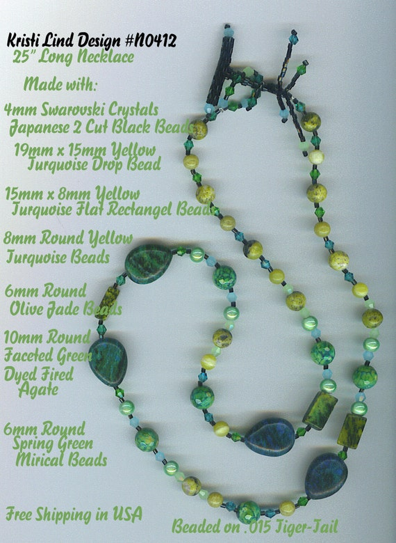 """25"""" long Yellow Turquoise Gemstones, Swarovski Crystals Hand Designed Toggle Clasp Necklace N0412 FREE Ship in USA"""