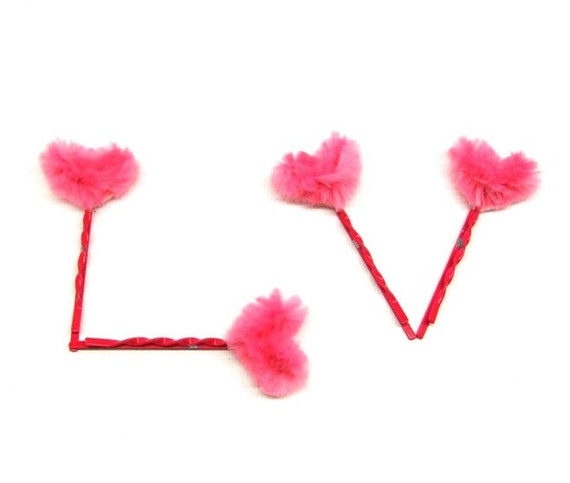 Pink Heart Bobby Pins Set of four Cute Hair Pins Neon Pink Hot Pink Hair Jewelry