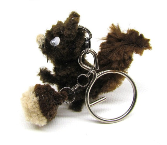 Squirrel Charm Keychain Key Chain Key Charm Zipper Pull Charm Woodland Charm Chipmunk Brown Acorn Bag Charm