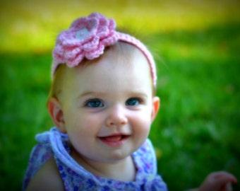Pink Crochet Flower toddler headband with button