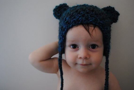 Blue Green Baby Hat--Infant Size 6-12 Months Bear Ears with Braided Tassels