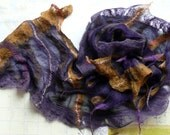 Handdyed Silk Nuno Felted Scarf in vibrant indigo and burned gold- Fall Collection- Accent fashion accessory