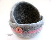 Felted Pink and Gray Bowls - Nesting Set of Two Bowls