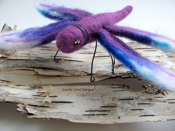 Dragonfly, Needle Felted Insect, Purple and Blue, Felt Sculpture, Felted Dragonfly, Made to Order