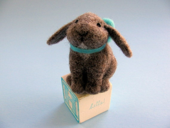 Bunny Soft Sculpture Needle Felted Animal sitting on a Wooden Block