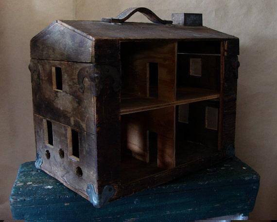RESERVED FOR NADIA Vintage Folk Art Toolbox Doll House Primitive Repurposed Art Antique Depression Era Dollhouse