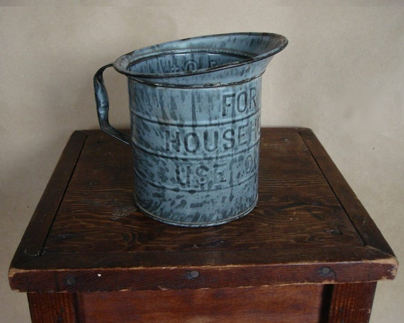 Vintage Granite Measuring Pitcher For Household Use Only 1 QT 1920s