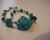 Silver Sabrina.Turquoise, silver and light blue beads anklet.