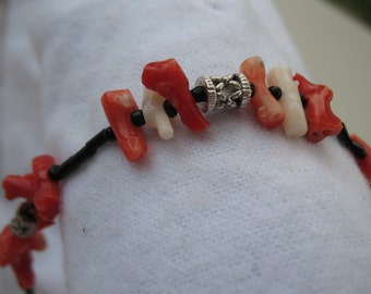 Red and white coral anklet