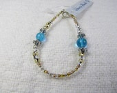 Aqua Glass Bead Stones with Silver Swirl Spacer Beads and Gold Seed Beaded Bracelet.....................available as a kit