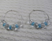 Sterling Silver Hoops with chunky clear crystal and sky blue beads.....................also available as a kit