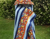 Hooded Blue Damask striped towel With Monster Trucks