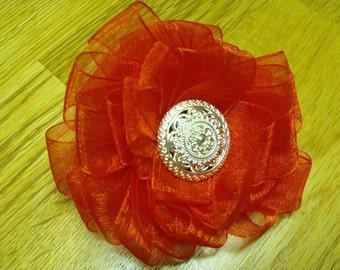 Red Ribbon Button Hair Bow