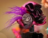 Girl's Purple Mini Hat Fascinator SALE - Violet Bloom - Photography Prop, Headband, Newborn, Wedding, Holidays