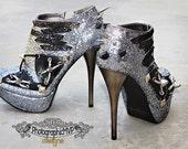 Custom Heels - Silver Glitter Platform Booties w/ Spikes, Studs, Ribbon, Grommets, Leather Laces, Steampunk, Rocker, Goth, Futuristic Style