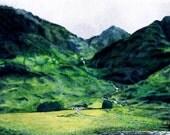 Scotland Highlands Glencoe Mountains & River - Giclée Print