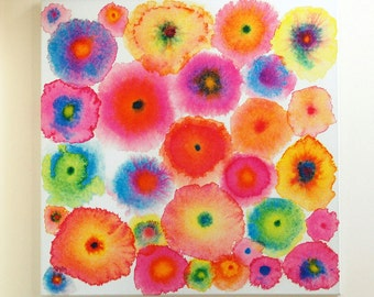 Pink Large Abstract Print Canvas - Circles - Flowers - Colorful - Blooms 2 Pink - Ltd Edition