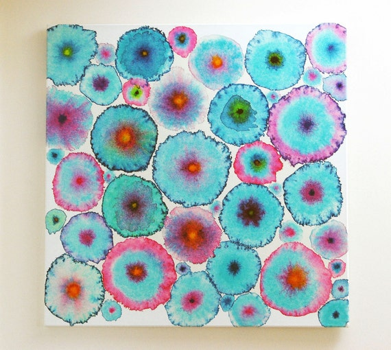 Turquoise Pink Large Abstract Print Canvas - Circles - Flowers - Colorful - Blooms 6 Turquoise