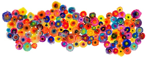 Autumn Circles Colorful Red Abstract Colorful Print - 'Fruit Blooms' - Ltd Edition