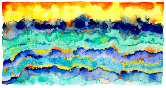Turquoise Yellow Abstract Sea Waves Crashing Print - 'The Seventh Wave' Ltd Edition