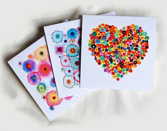 Greeting Cards Abstract Colorful Art x 3 - Heart and Turquoise Pink Circles