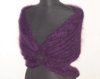 Knitted Capelet, Women Shrug, Knitted Bolero,  Amethyst Mohair Clothes,  Winter Women,  Chic Stylish