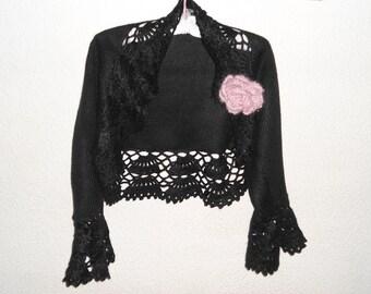 Knitted Black Shrug, Knitted Bolero, Long Sleeves Shrug, Black Jacket, Bridal Women, Bridesmaid Clothes, Evening Shrug