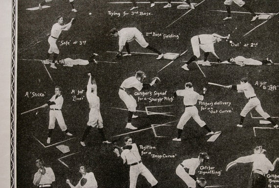 1933 Baseball Illustration of Snapshots on the Field - Great for Fathers Day