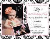 Pink Damask Invitation - Printable - DIY Collection