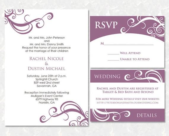 Target Wedding Invitations Kits: Wedding Invitation Package Printable DIY Set Of 3 By