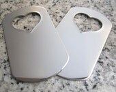 "1 1/8"" x 2"" (29mm x 51mm) Heart Hole Dog Tag Stamping Blank, 22g Stainless Steel - AWESOME Silver Alternative HTDT09-16N"