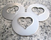 "1 1/4"" (32mm) Round Heart Hole Washer Stamping Blanks, 22g Stainless Steel - AWESOME Silver Alternative HTRW10N"