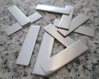"""1/4""""x1"""" (6MMx25MM) Rectangle Stamping Blanks, 22g Stainless Steel - AWESOME Silver Alternative RT02-08"""